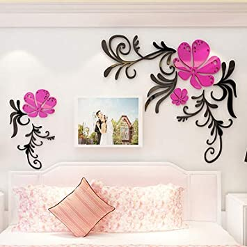 Buy Generic Hot Flower Acrylic 3d Wall Stickers Living Room Tv Wall Bedroom Decoration S 5 Maximum Size Online At Low Prices In India Amazon In