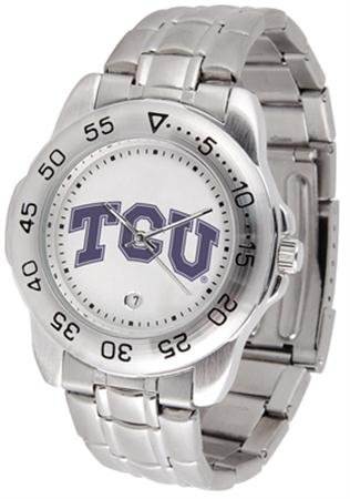 Texas Christian Horned Frogs (TCU) Men's Gameday Sport Watch w/Stainless Steel Band