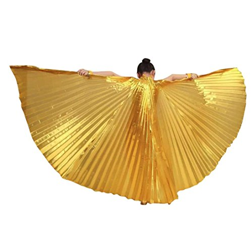 Kehen Child Kid Girl Soft Fabric Wings Egypt Belly Dance Accessories Party Costume No Sticks (Gold) -