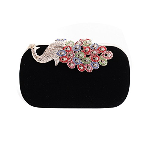 Velvet Womens Mily Bag Black with Peacock Rhinestone Evening Purse Clasp Ff7Ow