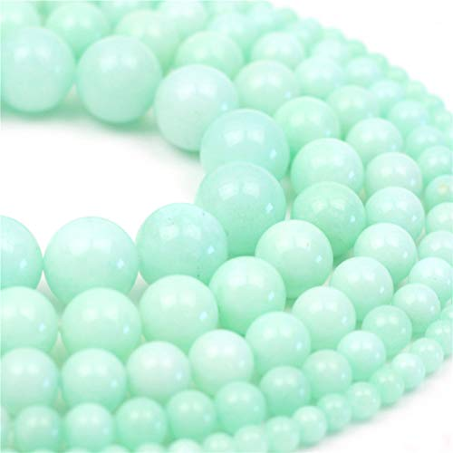 Oameusa Natural Round Smooth 8mm Amazon Chalcedony Gemstone Beads Loose Beads Agate Beads for Jewelry Making 15