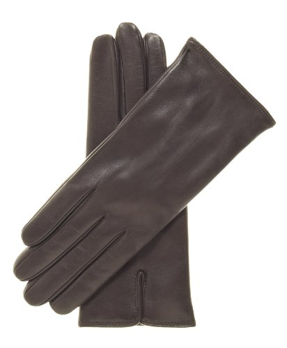 Fratelli Orsini Women's Italian Cashmere Lined Leather Gloves Size 7 1/2 Color Dark Brown