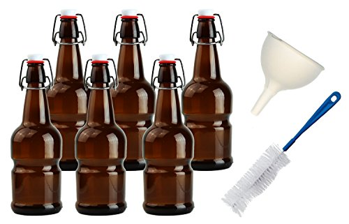 Teikis 16oz Kombucha / Beer Bottles (6 Pack|Amber) with Funnel + Brush + - Tower Water Map