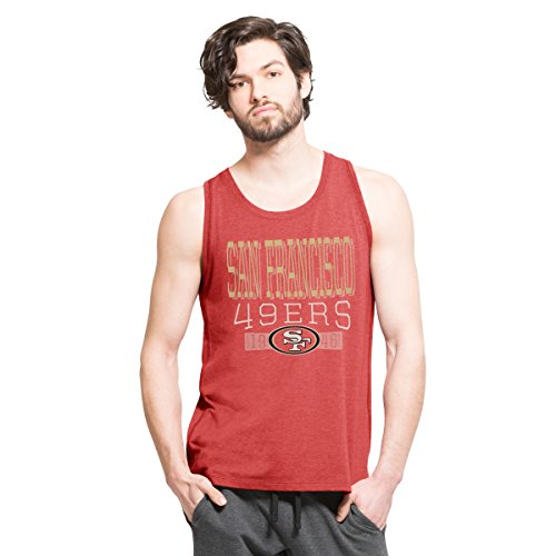 '47 NFL San Francisco 49ers Men's Forward High Point Tank Top, Shift Red, Large