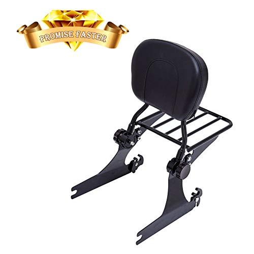 (Backrest Sissy Bar + Luggage Rack For Harley Dyna Street Bob Super Glide Low Rider 2006-up black )