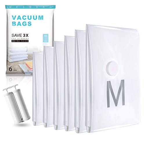 Vacuum Storage Bags Large - Premium Strong 120 Micron - 40% Thicker (6 Large 32x24) Double Zip Seal Space Saver Bags with Free Hand Double-Pump 80% More Space -Clothes, Towels, Bedding, Blankets