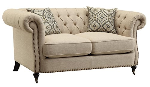 Coaster Trivellato Traditional Oatmeal Button Tufted Love Seat with Large Rolled Arms and Nailheads Review