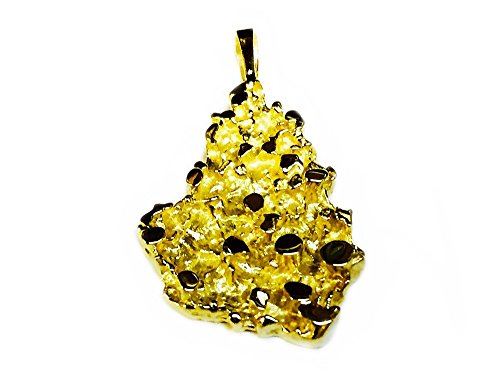 14K Yellow Gold Nugget Design Fashion Charm Pendant 8 (Nugget Charm Pendant)