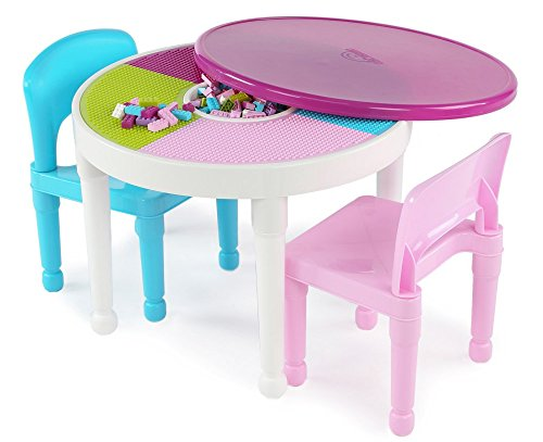 Kids Activity Table & Chairs Set of 3 Pieces Play Furniture in White Pink Blue color for Indoors or Outdoors by T. Tutors