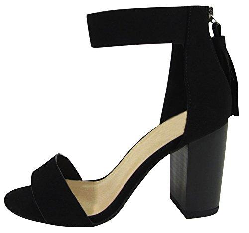 Cambridge Select Women's Open Toe Single Band Thick Ankle Strap Back Zip Tassel Chunky Stacked Block Heel Sandal,8 B(M) US,Black Nbpu