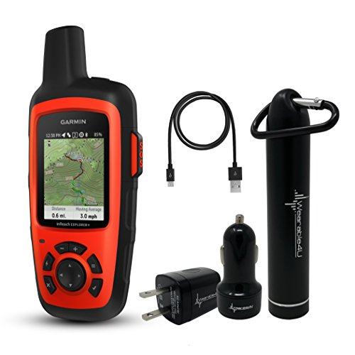 Garmin InReach Explorer+ Handheld Satellite Communicator with GPS Navigation, Maps, and Sensors 010-01735-10 and Wearable4U Ultimate Power Pack Bundle by Wearable4u
