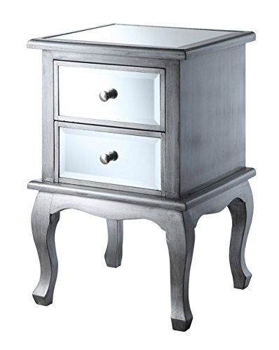 - Convenience Concepts Gold Coast Collection Queen Anne Mirrored End Table, Silver