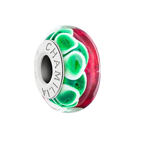 Authentic Chamilia Jolly Holly - Red, Green Murano Glass 2110-1233 (Green Beads Murano Pugster)