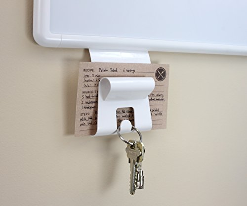 U Brands Gruv Magnetic Mail Holder with Key Hook, White, 3.5 x 3.25 Inches by U Brands (Image #2)'