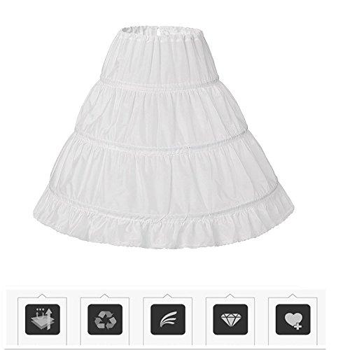 Uswear Girls' 3 Hoops Petticoat Full Slip Flower Girl Crinoline Underskirt for (Full Slip Petticoat)