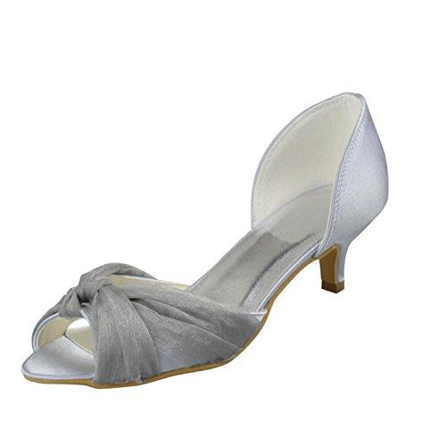 Kevin Fashion MZ1215señoras satén de tacón bajo de novia boda formal fiesta noche Prom sandalias blanco