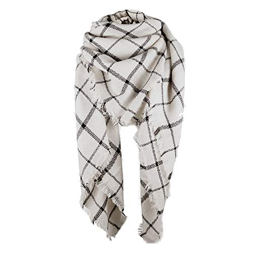 Zando Stylish Fall Winter Scarf Large Thick Scarves Wrap Cotton Oversized Scarf Women Tartan Plaid Blanket Scarf Cape Scarfs