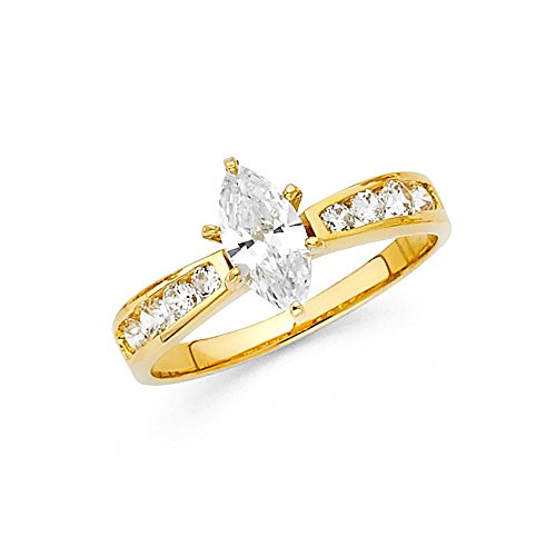 14k Yellow Gold CZ Marquise Engagement Ring Anniversary Solitaire CZ Band Round Side Stones New, Size 7.5 14k Yellow Gold Marquise Band