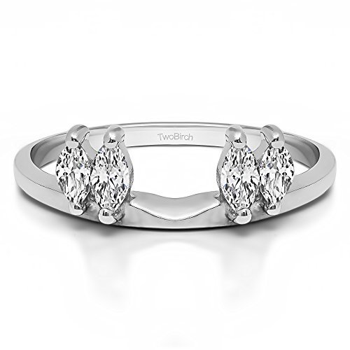 Diamond Traditional Marquise Ring Wrap in Platinum G-H SI2 to I1(0.15Ct) Size 3 To 15 in 1/4 Size Interval