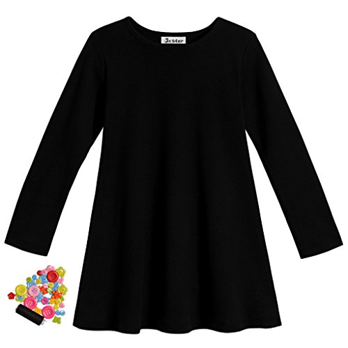 Jxstar Little Girls' Super Soft Cotton Long Sleeve Dress Black 130