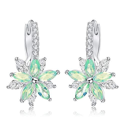 Ring Flower Fashion Rhinestone (liujun Delicate Cubic Zirconia Hoop Earring for Women Fashion Rhinestone Zircon Flower Stud Earrings Silver Plated Drop Dangle Earrings (Green))