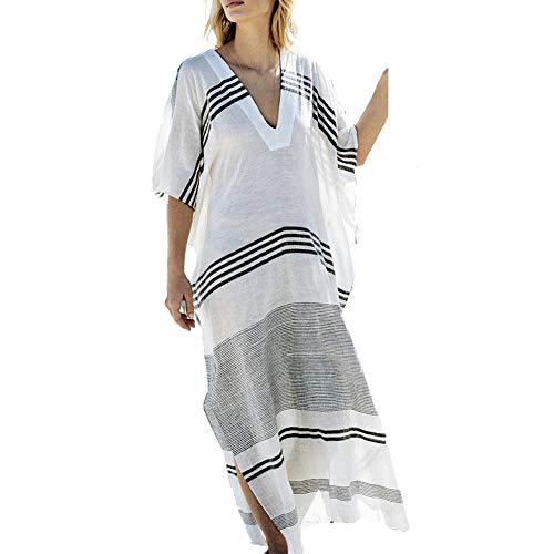 (Saherewanr Women Swimsuit Cover Up Dress Long Bathing Kimono Beach-wear Stripe Maxi)
