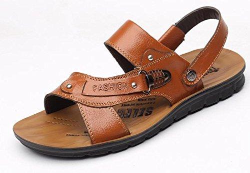 Pelle YCMDM c'è di nuovo estate fibbia in metallo Men Casual Shoes Pelle bovina sandali della spiaggia Pantofole , khaki , 39