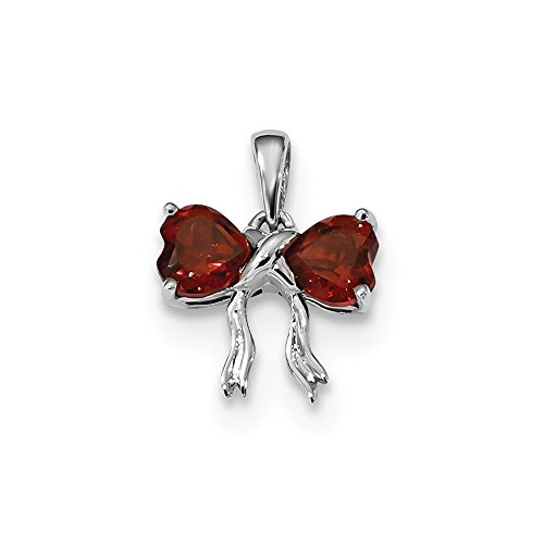 Red Garnet Two Hearts Bow Tie Pendant Love Knot Charm Fashion Red Sterling Silver