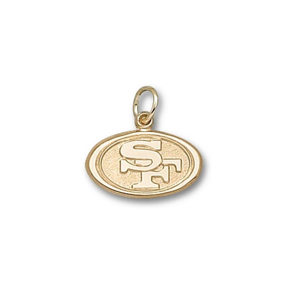 NFL San Francisco 49ers Oval Logo Pendant 3/8 Inch   14K White Gold Jewelry