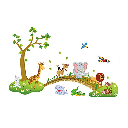 decalmile Jungle Animals Tree Wall Stickers Lion Giraffe Elephant Walking on Bridge Wall Decals Kids Room Wall Decor Baby Room Nursery Bedroom Wall (Jungle Furniture)