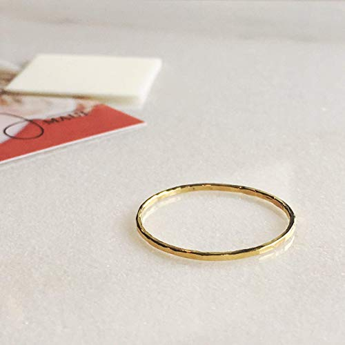 Gold Filled Artisan Hammered (unisex) Stackable Ring Size 10