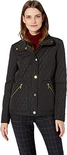 Michael Michael Kors Women's Snap Front Short Quilt M422355GZ Black Medium