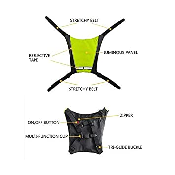 para Senderismo al Aire Libre Camping Bicicleta ShangSky Chaleco de Alta Visibilidad Mochila Reflectante de Ciclismo Indicador de luz de se/ñal Control Remoto LED Luces de Bicicleta Chaleco