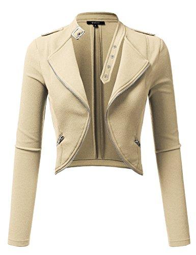 Crop Blazer (DRESSIS Womens Long Sleeve Slim Fit Open Front Cropped Blazer Jacket Beige M)