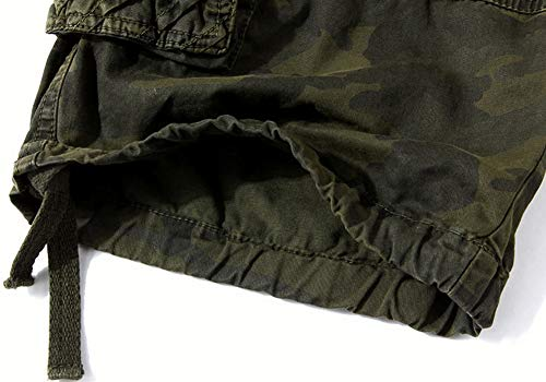 AbelWay Mens Cotton Camo Multi Pockets Outdoor Wear Casual Twill Camouflage Cargo Shorts