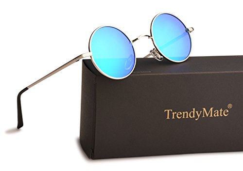 TrendyMate John Lennon Retro Round Polarized Hippie Sunglasses Small Circle Steampunk Sun Glasses (Silver Frame/Blue Lens) -