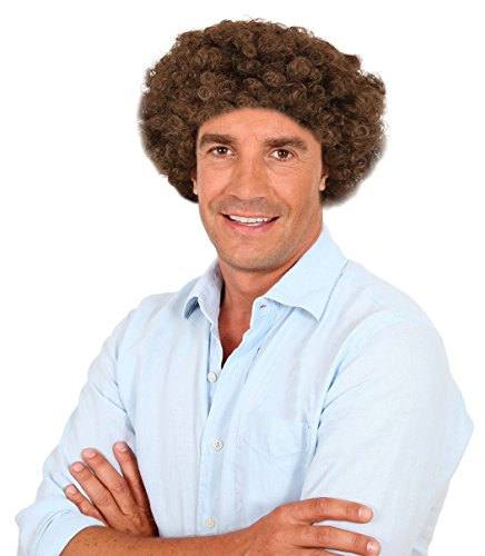 [Brown Bob Ross Wig Bob Ross Costume Wig Brown Afro Wig for Men] (Beard Long Hair Costume Ideas)
