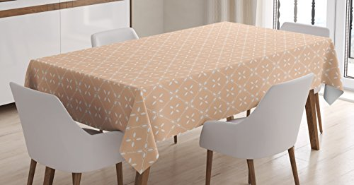 """Ambesonne Modern Tablecloth, Diagonal Checked Pattern with Flower Motifs Spring Blossoms Simplistic Tile Design, Rectangular Table Cover for Dining Room Kitchen Decor, 60"""" X 90"""", Salmon White"""