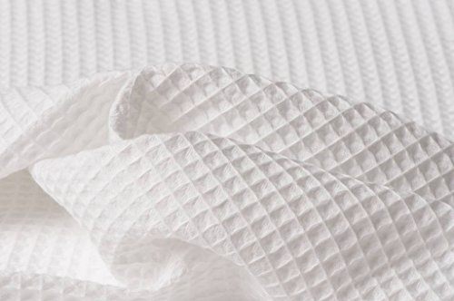 - HomeBuy Cotton Waffle Pique Honeycombe Fabric Material - 150Cm Wide (White)