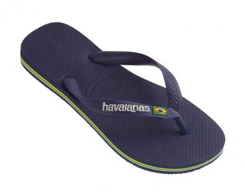 070ad70d41936 Havaianas Mens Boys Brasil Logo Flat Flip Flops - Black