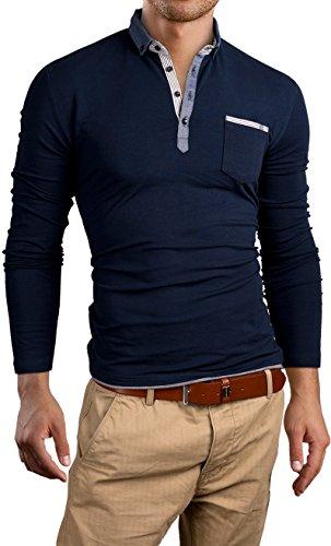 Grin&Bear Slim Fit chambray shirt collar Shirt, Long Sleeve, navy, XL, GB124