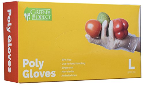 Direct Kitchen - Green Direct Food Grade PE Disposable Gloves/Food Preparation Poly Gloves BPA Free Box of 500, Size Large