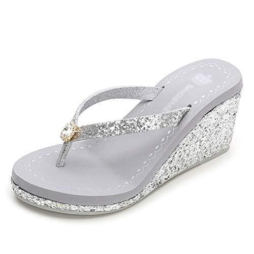 F-OXMY Womens Fashion Wedges Platform Flip Flops Non-Slip Glitter Sequins Summer High Heel Beach Sandals Silver