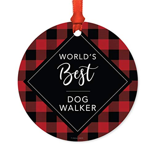 Andaz Press Funny Round Metal Christmas Ornament, World's Best Dog Walker, Modern Buffalo Red Black Plaid, 1-Pack, for Coworker Friend Spouse Him Her, Includes Ribbon and Gift Bag