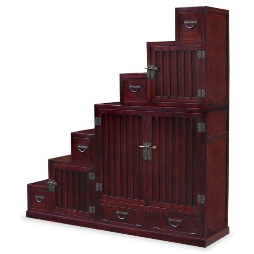 China Furniture Online Elmwood Tansu Chest, Hand Crafted Japanese Style Step Tansu Cabinet in Dark Cherry Finish (Step Tansu Cabinet)