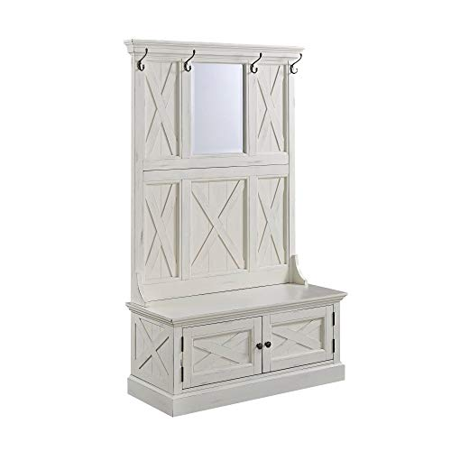 Seaside Lodge White Hall Tree by Home Styles (And Tree Mirror With Hall Bench)