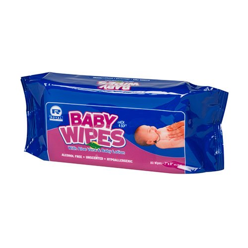 Royal Unscented Baby Wipes Refill, Case of 960