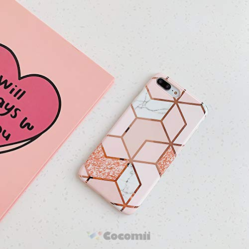 Cocomii Geometric Marble Armor iPhone 8 Plus/7 Plus Case New [Rose Gold Shiny Lines Granite] Ultra HD Vivid Pattern Never Fade [Slim] Cover for Apple iPhone 8 Plus/7 Plus (GM.Pink/Glitter)