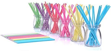 210ct 6 inch Colored Lollipop Sticks 7 Colors for Cake Pops Apple Candy Rose-red, Blue, Yellow, Purple, Green, Watermelon Red, White