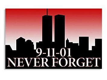 GHaynes Distributing Magnet RED NY Skyline w/Twin Towers 9-11 Never Forget Magnetic 3 x 5 inch
